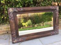 Gorgeous old Hardwood antique mirror. Mantle fireplace.