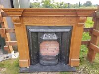 132 Cast Iron Fireplace Surround Fire Wood Tiled Antique Victorian Original 1887
