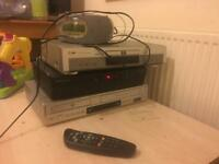Sky box and DVD player vhs player