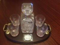 Hand cut lead crystal Whisky decanter and 4 whisky glasses
