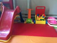 Toys-Slide, block walker, baby doll tub etc