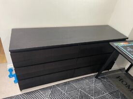 Black ikea chest of drawers (6drawers)