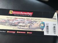 Ticket for tommorow for ferrari show