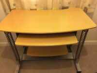 Work station for PC & printer, vg condition, 2 shelves with moveable tray.