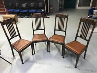 4x retro vintage dark wood dining room high back chairs chairs
