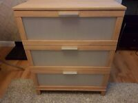 IKEA Austmarka Oak Effect Chest of 3 Drawers 80 x 100cm