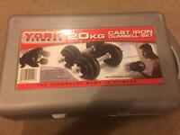 York 20kg Spinlock Cast Iron Dumbell Set