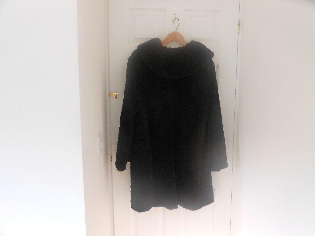 Vintage Astrakhan Black Coat. Size 14