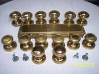 Used brass door knobs and finger plates