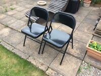 Chairs - pair of black folding chairs suitable for home or garden