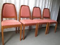 SET OF FOUR NATHAN TEAK DINING CHAIRS FREE DELIVERY