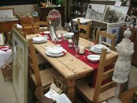 ORNATE MODERN SOLID PINE RUSTIC 'CORONA' TABLE & 6 DINING CHAIRS. VIEWING/DELIVERY AVAILABLE