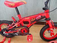 Disney Bike 12 Inch Parent Handle BMX + Cars Helmet