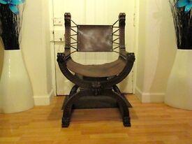 Carolean/Savonarola Medieval Gothic Green Man Lion Oak X Chair