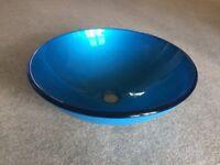 Blue glass bathroom basin / sink