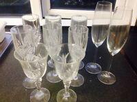 Glass ware wine champagne glasses antique spirit bottle