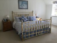 Stunning brass and decorative porcelain Victorian style bedstead to fit Super-King sized bed