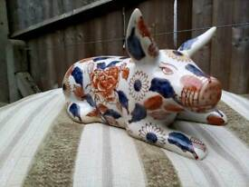 Japanese imari porcelain pig