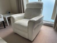White leather armchair recliner reclining very comfy