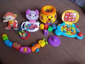 Cookie jar,fisher price catapilar,v-tech,6 infant toys.