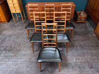 Set of 6 Teak Danish 'Lis' Dining Chairs by Niels Koefoed. Vintage Mid Century 1960s