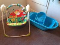Baby bath and swinging chair