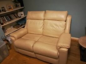 Beautiful Parker Knoll two seater cream leather sofa