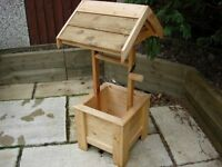 wooden wishing well for garden or wedding post box