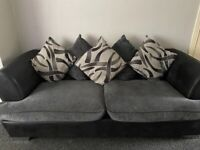 3/4 seater sofa and swivel chair, Grey and black fabric