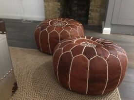 Two Chestnut Moroccan Pouffes For Sale Pair (Stuffed)