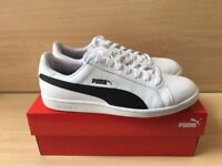 Puma Smash Leather Trainers Classic White Black Size 9 Retro Shoes Mod Mens Gents Adidas Old School