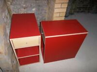 Red & Wooden matching Bedside tables