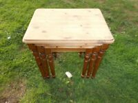Nest of 3 solid pine coffee tables