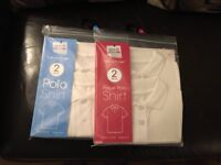 Job Lot of 2 X 22 (44 IN TOTAL) Packs Kids School Polo shirts