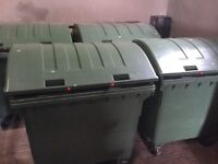1100 litre waste bins for sale, like new.