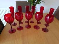 Red wine glasses and champagne flutes