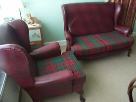 Vintage Parker Knoll burgundy leather 2-seat sofa & one armchair