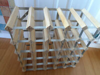 WOOD AND METAL 25 BOTTLE WINE RACK