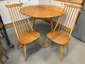 Ercol Round Drop-Leaf Dining Table & 2 Chairs Elm Beech Wood Vintage MCM