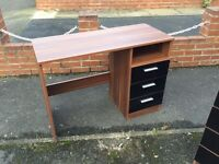 Black gloss and wood computer desk + Black gloss and wood chest of drawers