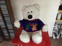 "Christmas teddy bear good condition 21"" inches tall"