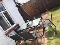 6 Seat Garden And Umbrella Set.