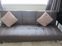 BROWN FAUX LEATHER SOFA BED,