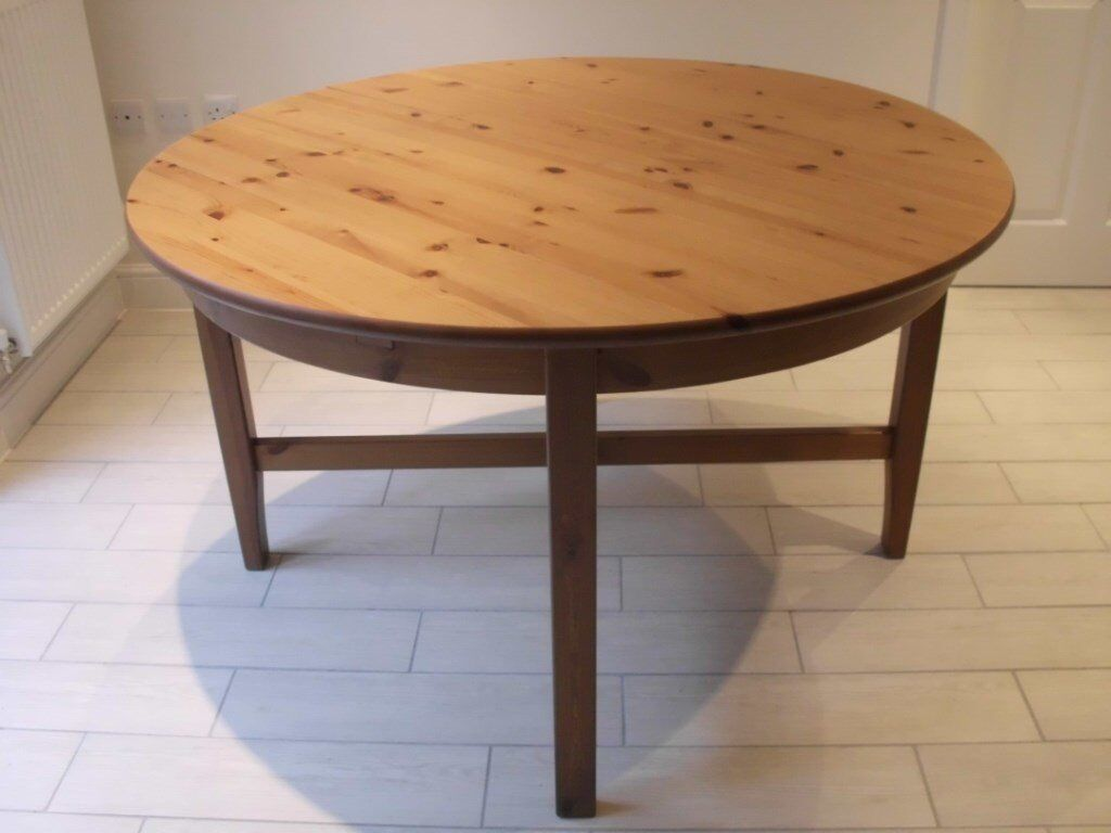 IKEA LEKSVIK ROUND EXTENDING DINING TABLE SOLID WOOD SEATS UP TO