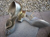 Gold and silver leather dance shoes size 5. Suede sole ideal ballroom/latin-salsa.