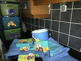 Young Boys/Toddlers Bedroom digger theme from Next....lampshade, curtains, storage, canvas print....