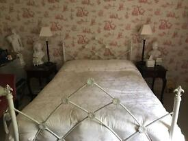 Double cream metal frame bed. - without mattress