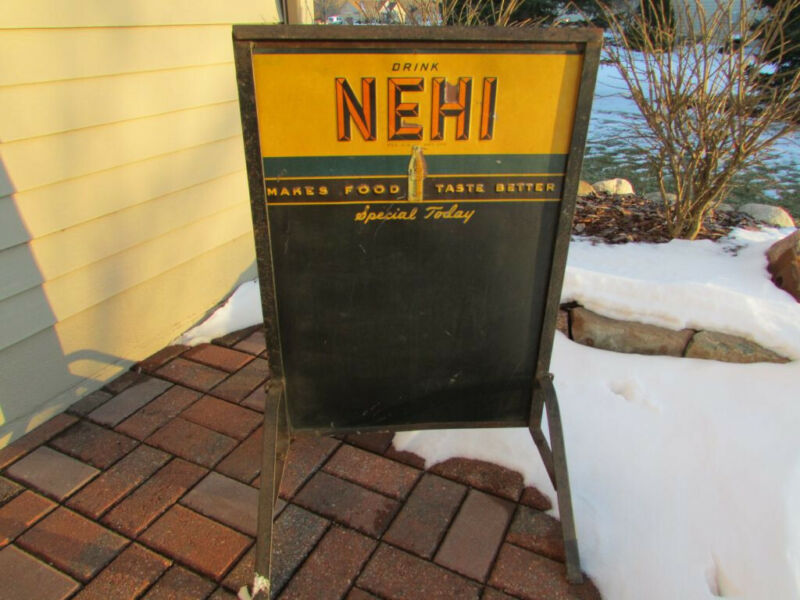 Nehi Soda: 2-Sided Daily Specials Sign With Stand Circa 1940s - Rare Item