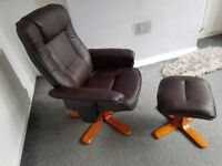 Swivel recliner bond leather chair