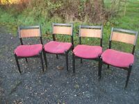 4 Vintage Retro Chairs Red Upholstered EAST HOATHLY